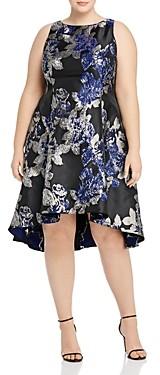 Adrianna Papell Plus Sleeveless Metallic Floral Jacquard