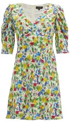 Saloni Colette Floral-print Crepe Mini Dress - Womens - White Multi