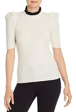 Aqua Cashmere Lace Trim Puff-Sleeve Cashmere Sweater - 100% Exclusive
