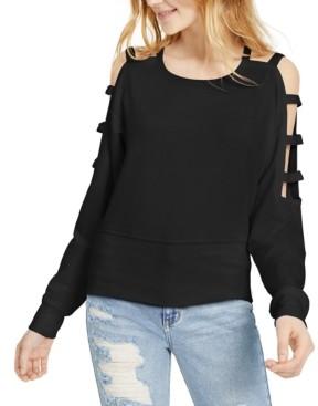 Almost Famous Juniors' Caged Cold-Shoulder Sweatshirt