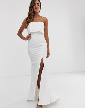 Jarlo bandeau overlay maxi dress in ivory