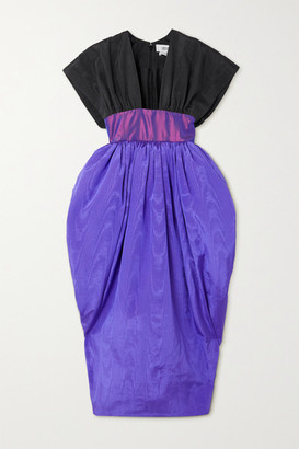 Christopher John Rogers Color-block Moire And Taffeta Gown - Purple