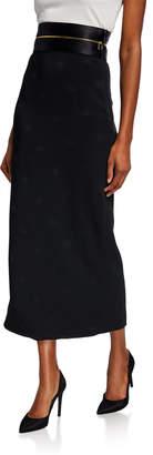 Brandon Maxwell Long Zip-Waist Pencil Skirt