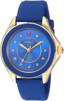 Michele Women's 'Cape' Swiss Quartz Stainless Steel and Silicone Casual Watch, Color:Blue