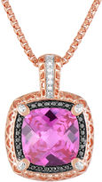 FINE JEWELRY LIMITED QUANTITIES! 14K Rose Gold over Silver Lab-Created Pink Sapphire and Color-Enhanced Black Diamond Pendant