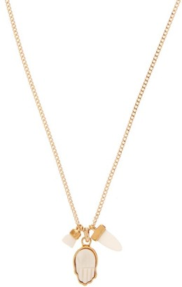 Isabel Marant Faux Shark-tooth And Hamsa Pendant Necklace - Womens - White Gold
