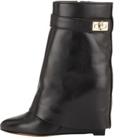 Givenchy Leather Shark-Lock Fold-Over Boot
