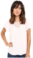 Rebecca Taylor Stained Glass Lace Short Sleeve Top