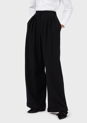 Emporio Armani Washed Wool Trousers With Darts And Turn-Ups