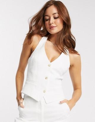 ASOS DESIGN textured 3 piece suit suit vest in white