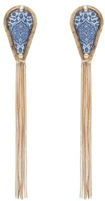 Rosantica Sicilia Tasselled Tile Clip Earrings - Womens - Blue Multi