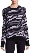 Equipment Ondine Zebra Crewneck Merino Wool Sweater