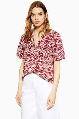 Topshop Womens Tall Burgundy Palm Print Bowler Blouse - Burgundy