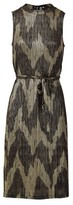 Dorothy Perkins Womens Izabel London Gold Aztec Belted Midi Dress, Gold