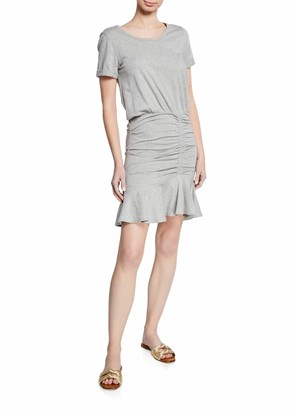Veronica Beard Jeans Short-Sleeve Ruched Pima Cotton Mini Dress w/ Flounce Hem