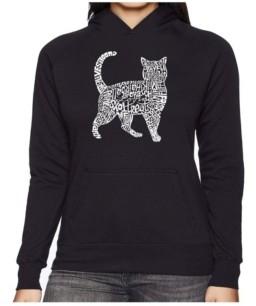 La Pop Art Women's Word Art Hooded Sweatshirt - Cat