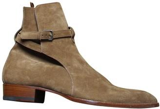 Saint Laurent Wyatt Jodphur Beige Leather Boots