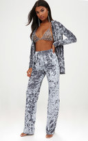 PrettyLittleThing Silver Crushed Velvet Wide Leg Suit Trousers