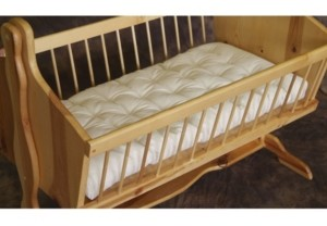 Holy Lamb Organics Natural Wool Bassinet Mattress Encased in Organic Cotton Canvas Bedding