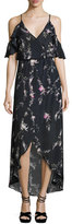 Karina Grimaldi Rockefeller Floral-Print Cold-Shoulder Maxi Dress, Black