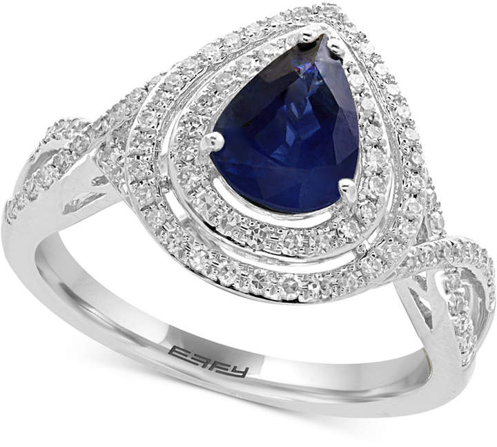 Effy Royale Bleu by Sapphire (1 ct. t.w.) and Diamond (1/3 ct. t.w.) Ring in 14k White Gold