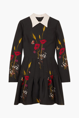 Valentino Pleated Floral-print Wool And Silk-blend Mini Dress
