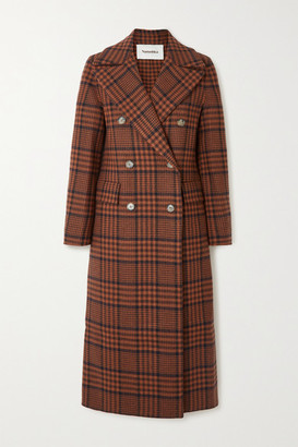 Nanushka Lana Double-breasted Checked Wool-blend Coat - Brown