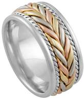 American Set Co. Men's Tri-Color Platinum & 18k White Yellow Rose Gold Woven 8mm Comfort Fit Wedding Band Ring size 4.25