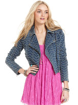 Free People Jacket, Zigzag Striped Denim Motorcycle