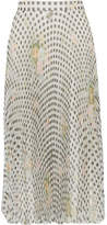 Christopher Kane Pleated Printed Organza Midi Skirt - Off-white