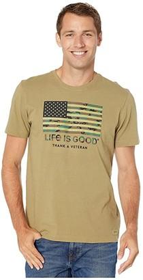 Life is Good Thank A Veteran Crusher Tee (Fatigue Green) Men's T Shirt