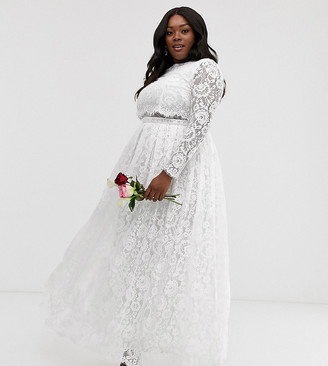 Asos EDITION Curve lace long sleeve crop top maxi wedding dress
