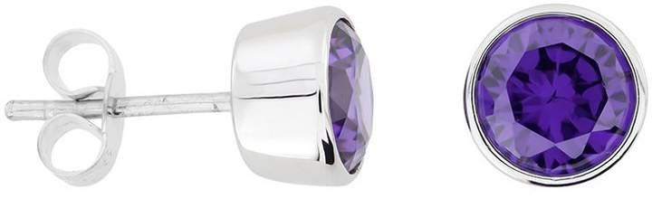 House of Fraser Azendi Sterling silver purple cubic zirconia 7mm stud