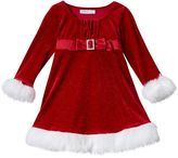 Bonnie Jean Toddler Girl Velvety Glitter Santa Dress