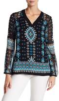 Nanette Lepore Blue Moon V-Neck Silk Blouse