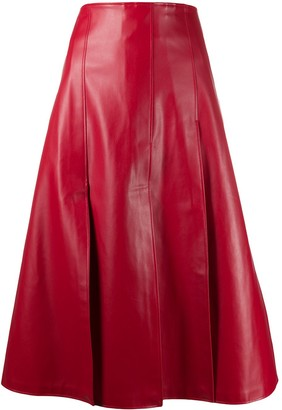 A.W.A.K.E. Mode Buttoned Leather-Effect Skirt