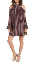Band of Gypsies Women's Stripe Cold Shoulder Shift Dress