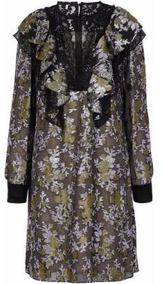 Lanvin Lace-paneled Ruffled Brocade Dress