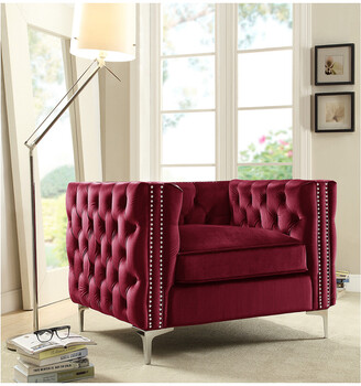 Chic Home Da Vinci Red Velvet Club Chair