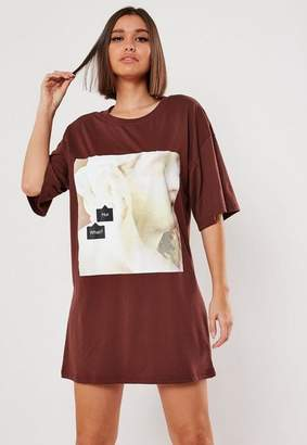 Missguided Chocolate Oversized Hun What Graphic T Shirt
