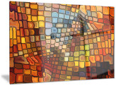 """Design Art Usa """"Dreaming of Stained Glass"""" Abstract Glossy Metal Wall Art, 28""""x12"""""""