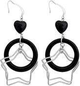 Ice 20 CT TW Black CZ Sterling Silver Multi-Tier Heart and Star Dangle Earrings