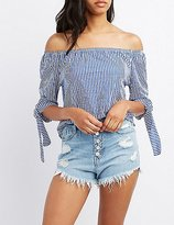 Charlotte Russe Striped Off-The-Shoulder Tie Sleeve Top