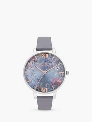 Olivia Burton OB16US09 Women's Under The Sea Leather Effect Strap Watch, Silver/Blue