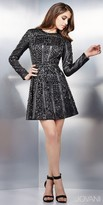 Jovani Embellished Long Sleeve Leather Cocktail Dress