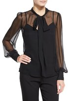 Nanette Lepore Long-Sleeve Silk Chiffon Tie-Neck Top, Black