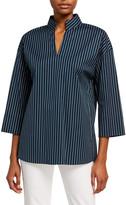 Lafayette 148 New York Hawkins Series Stripe Mandarin Collar Blouse