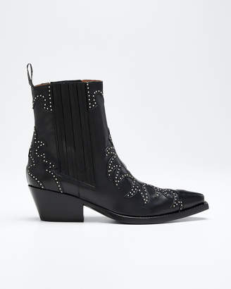 Sartore Studded Leather Western Booties