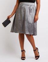 Charlotte Russe Plus Size Metallic High-Low Midi Skirt