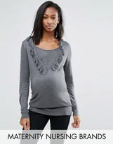 Mama Licious Mama.licious Mamalicious Nursing Ruffle Front Knitted Sweater